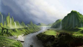 Landscapes hills fantasy art artwork waterfalls rivers wallpaper