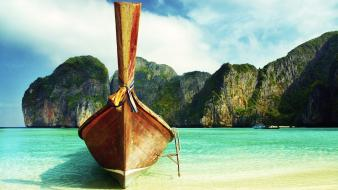 Landscapes nature beach boats thailand wallpaper