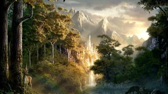 Mountains landscapes fantasy art artwork rivers Wallpaper
