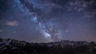 Mountains nature outer space night stars skyscapes wallpaper