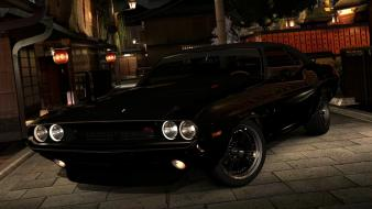 Muscle cars classic black dodge challenger r/t wallpaper