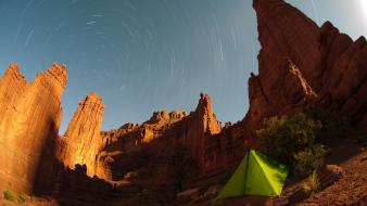 Nature stars desert outdoors tents skies time lapse Wallpaper