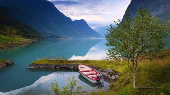 Nature trees norway boats lakes fjord reflections Wallpaper