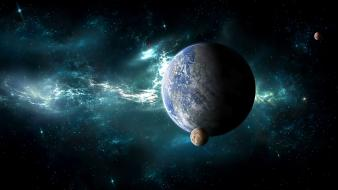 Outer space galaxies planets fantasy art artwork world wallpaper