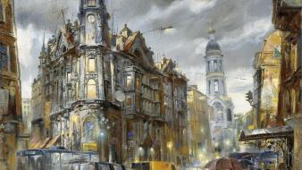 Paintings cities wallpaper