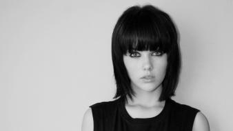 People monochrome mellisa clarke bangs bob cut wallpaper