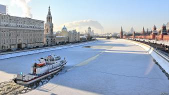Ships moscow morning kremlin rivers winter sports wallpaper