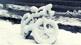 Snow bicycles wallpaper