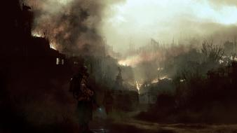 Soldiers ruins statues artwork apocalyptic master piece wallpaper
