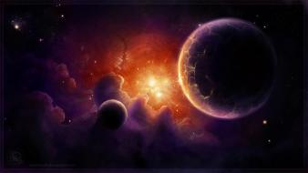 Space planets digital art on fire airbrushed wallpaper