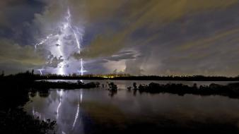 Storm lakes lightning reflections wallpaper