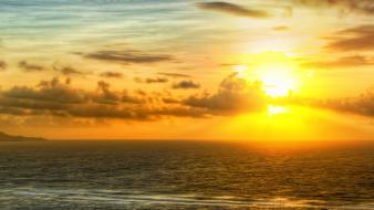 Sunset ocean landscapes nature panorama sea wallpaper