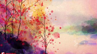 Trees artwork watercolor smashing magazine paint splatter wallpaper
