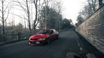 Trees wall roads mitsubishi lancer evolution ix jdm wallpaper