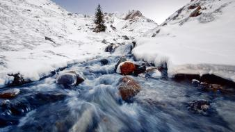 Water landscapes nature snow rivers wallpaper