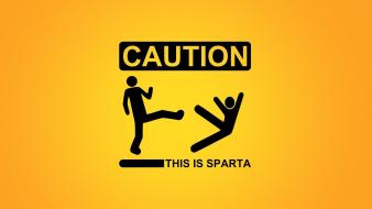 Yellow sparta funny warning caution wallpaper