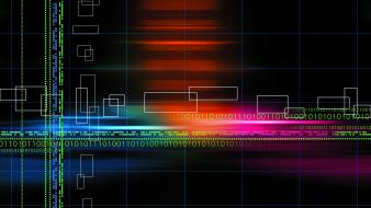 Abstract multicolor binary grid numbers black background wallpaper