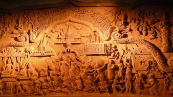 Artwork thai panels wood carving Wallpaper