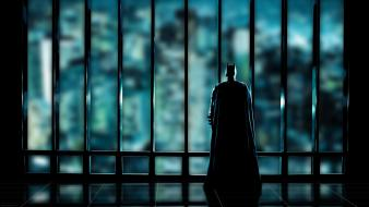 Batman silhouette superheroes gotham city window panes view wallpaper