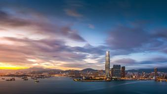 Beach cityscapes buildings hong kong skyscrapers sea wallpaper