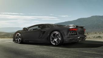 Black cars lamborghini roads lambo aventador wallpaper