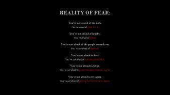 Black text quotes reality life f.e.a.r word Wallpaper