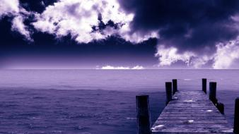 Blue ocean nature skies sea wallpaper