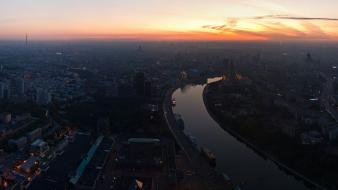 Cityscapes dawn lights buildings moscow rivers skyscapes wallpaper