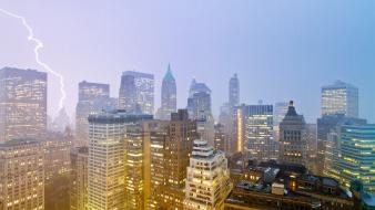 Cityscapes new york city skyscrapers lightning Wallpaper