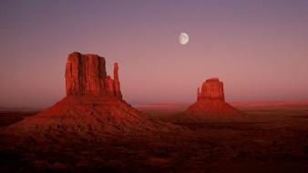 Desert utah monument valley moonrise wallpaper