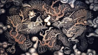 Dragons zen buddhism temple wallpaper