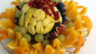 Fruits oranges grapes artwork fruit carving Wallpaper