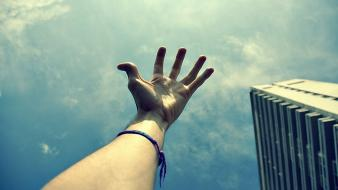Hands skyscapes wallpaper