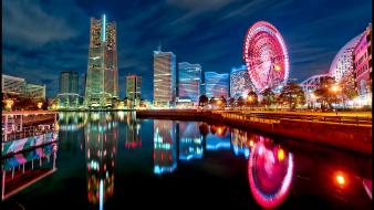 Japan tokyo cityscapes yokohama city lights bay Wallpaper