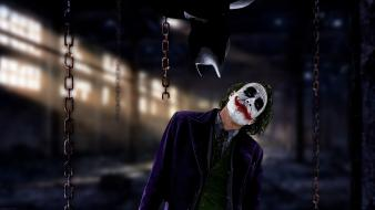 Joker heath ledger artwork chains dark knight wallpaper