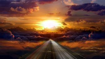 Light clouds landscapes sun highway skyscapes wallpaper