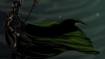 Loki gods norse night sky mjolnir sceptres wallpaper