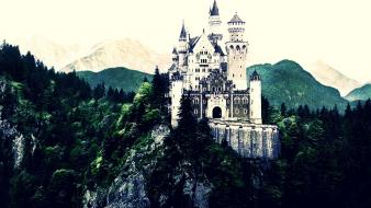 Mountains landscapes castles forest gothic neuschwanstein castle wallpaper