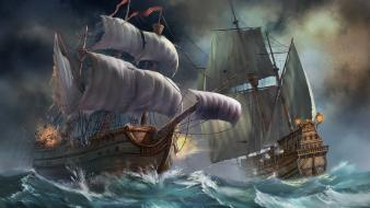 Ocean ships battles sail ship Wallpaper