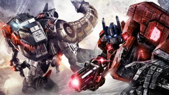 Optimus prime grimlock transformers fall of cybertron wallpaper