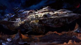 Outer space futuristic spaceships artwork wallpaper