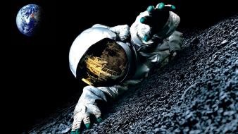 Outer space moon earth spaceman wallpaper