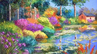 Paintings nature multicolor flowers wallpaper