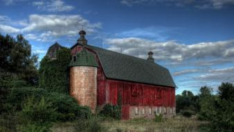 Red old buildings barn skyscapes wallpaper