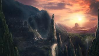 Skylines rocks bridges falls fantasy art town wallpaper
