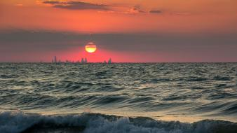 Sunset cityscapes scenic seascapes wallpaper