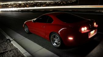Toyota supra cars lights night wallpaper