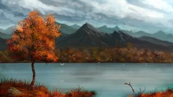 Trees autumn (season) scenic lakes blue skies Wallpaper