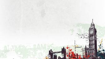 Abstract vector london bridges big ben olympics 2012 wallpaper