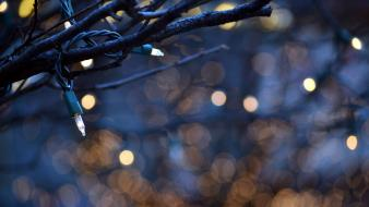 Bokeh christmas lights branches wallpaper